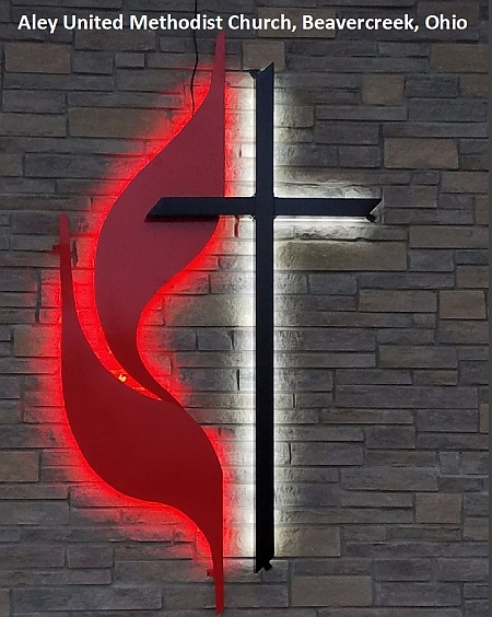 UMC cross & Flame signs,United methodist cross & flames with red and white led lighting